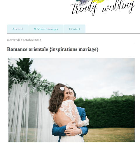 publication sur trendy wedding